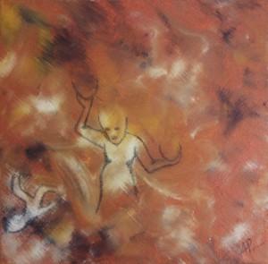"""""""Fokus og balance"""" Anja Korsgaard 2012 - akryl/grafit på lærred - 40x40x2 cm"""