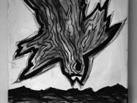 """going back to black"" - akryl/kul på lærred - 50x50x4 cm - Anja Korsgaard"