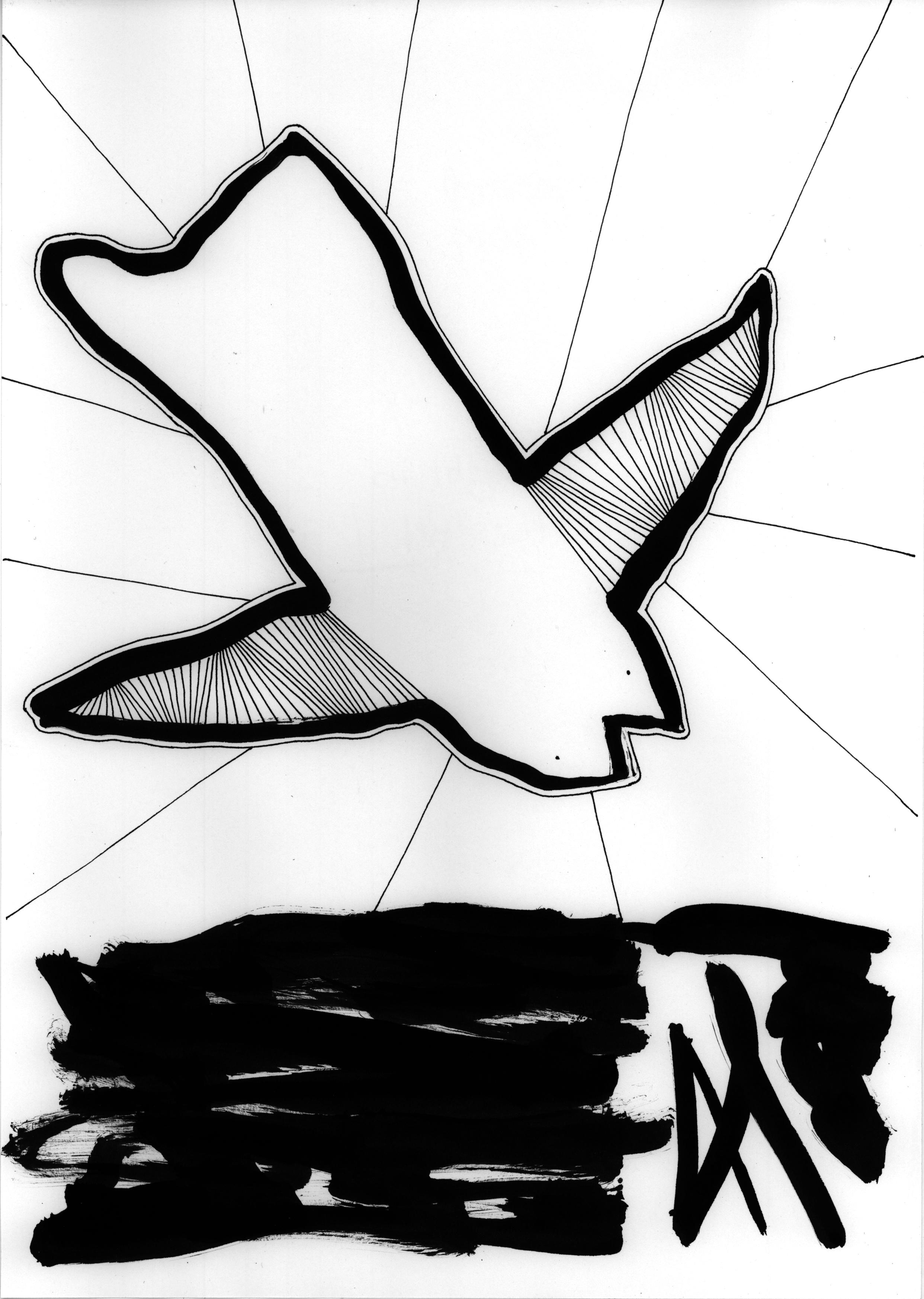"""Caught in the fall"" tusch af Anja Korsgaard"